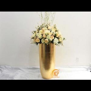 fiberglass pot and artificial flower 00011