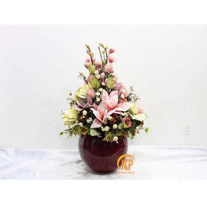 fiberglass pot and artificial flower 00002