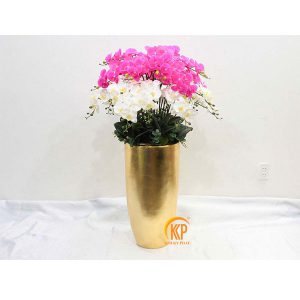 fiberglass pot and artificial flower 00008