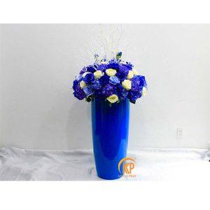 fiberglass pot and artificial flower 00009